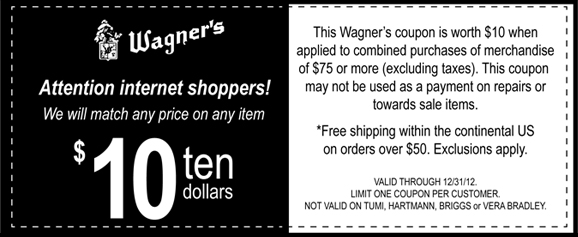 Wagner's shopping coupon